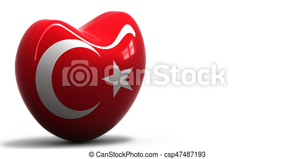 Heart with national flag of Turkey - csp47487193