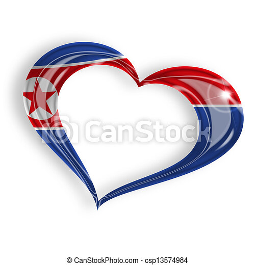 heart with north korean flag colors on white background - csp13574984
