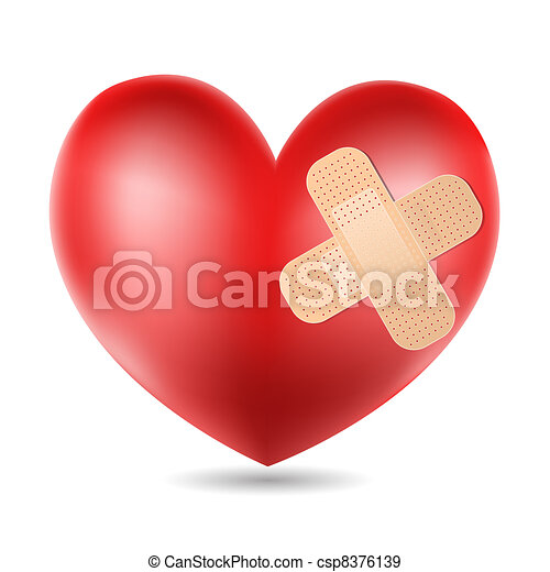 heart with plaster  - csp8376139