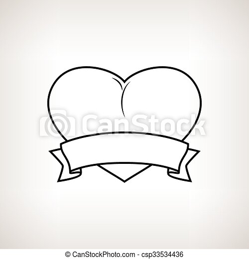 Heart with Ribbon on a Light Background - csp33534436