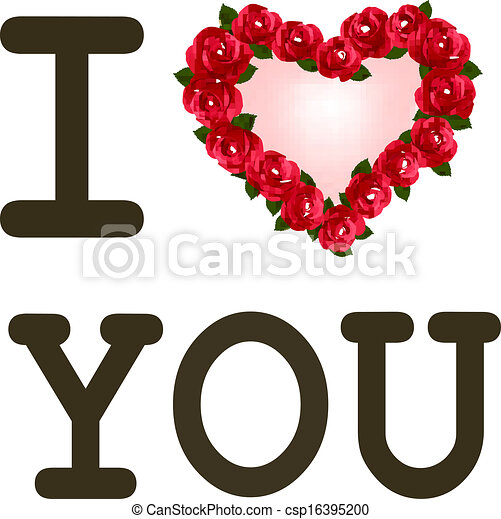 heart with roses i love you vector template valentine