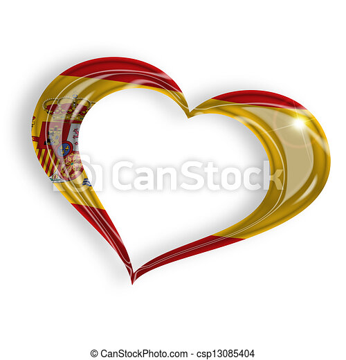 heart with spanish flag colors on white background - csp13085404