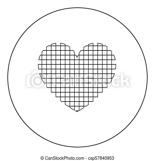 Heart with square icon black color in circle - csp57840953