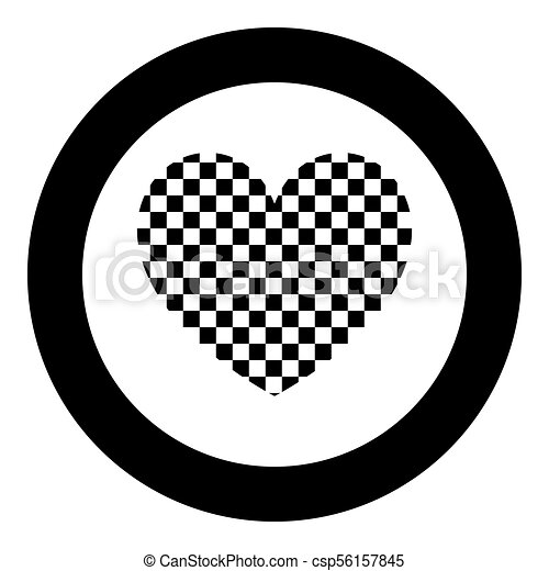 Heart with square icon black color in circle - csp56157845