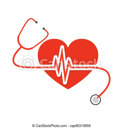heart with stethoscope and heartbeat sign vector clipart vector rh canstockphoto com free heartbeat clipart images free heartbeat clipart images