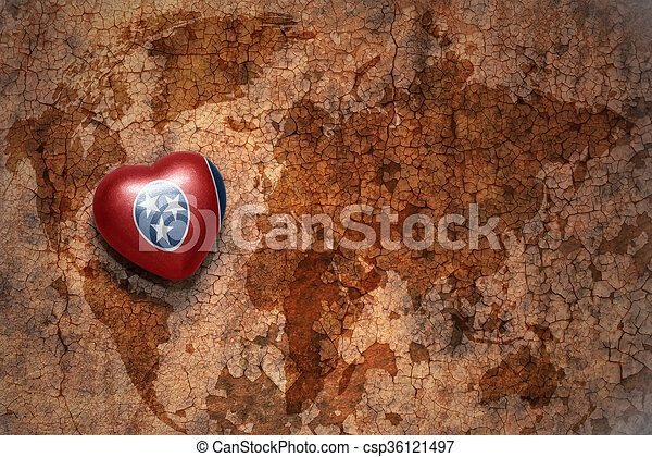 Heart with tennessee state flag on a vintage world map crack heart with tennessee state flag on a vintage world map crack paper background csp36121497 gumiabroncs Gallery