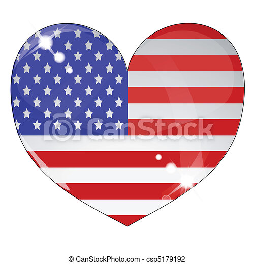 Heart with US flag texture isolated - csp5179192