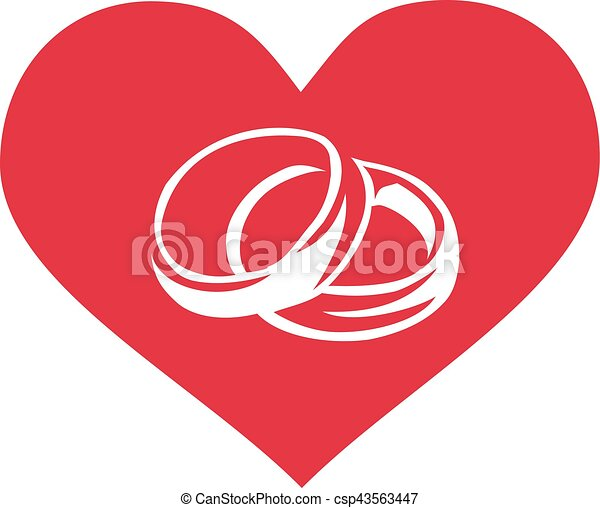 Heart with wedding rings - csp43563447