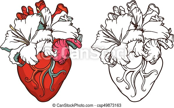 Line Art Heart Tattoo Designs