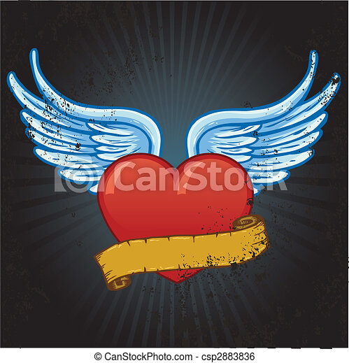 Heart with wings and banner vector illustration - csp2883836