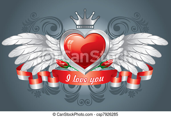Heart With Wings Wonderful Background To Valentines Day