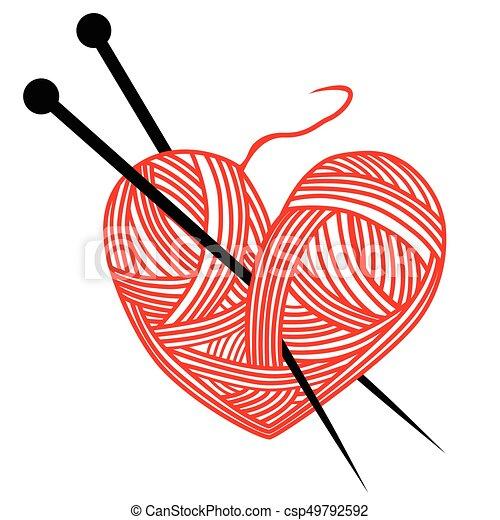 heart wool knitting needle isolates hobby handcraft logo rh canstockphoto com