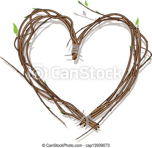 Heart Woven Of Twigs Isolated On White