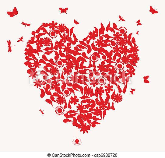 Heart4 Mariage Coeur Fleur Colour Illustration Papillons