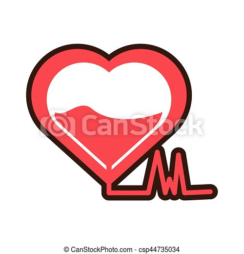 Heartbeat Blood Donation Symbol Vector Illustration Eps 10