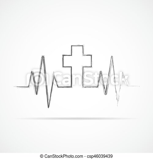 Heartbeat Icon With Christian Cross Vector Illustration Heart Rate