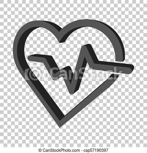 Heartbeat line with heart icon in flat style  Heartbeat illustration on  isolated transparent background  Heart rhythm concept