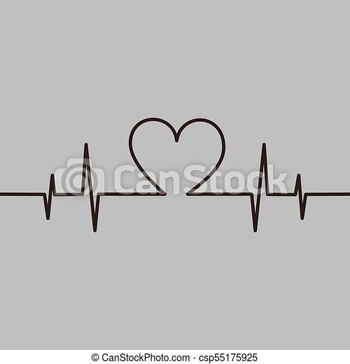 Heartbeat Love Romance Line Abstract Symbol Vector Illustration