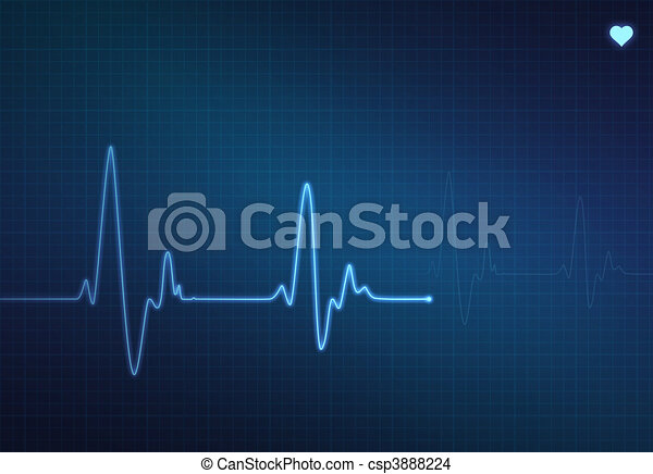 Heartbeat Line Art : Medical heartbeat monitor electrocardiogram with blue drawing