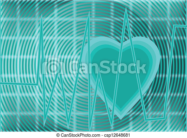 Heartbeat Line Art : Heartbeat pulse tracing on a blue grid background vector search