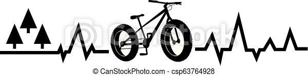 heartbeat pulse fat bike mountain - csp63764928