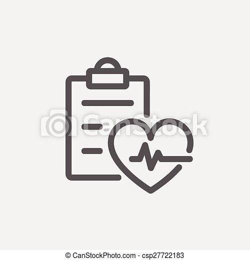 Heartbeat record thin line icon - csp27722183