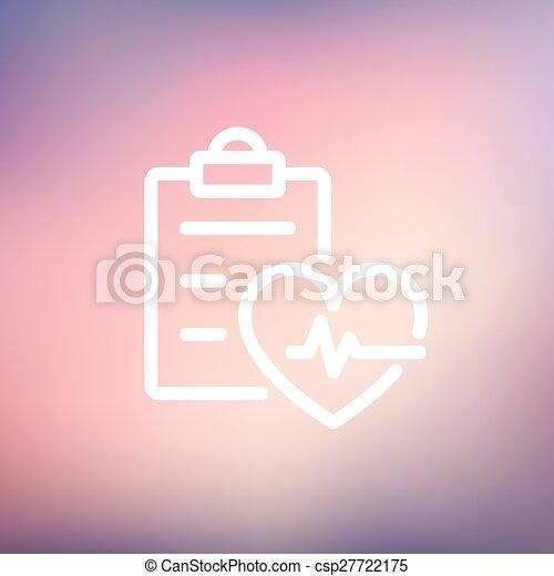 Heartbeat record thin line icon - csp27722175