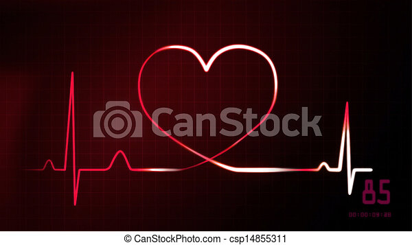 Heartbeat Line Art : Heartbeat red of ekg monitor graphic clipart