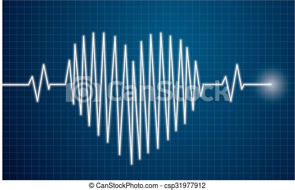 Heartbeat Line Art : Heartbeat sensor heart line on moinitor vector clip art search