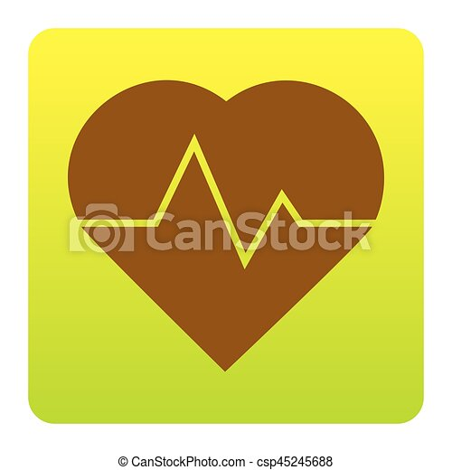 Heartbeat sign illustration. Vector. Brown icon at green-yellow gradient square with rounded corners on white background. Isolated. - csp45245688