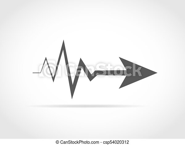 Heartbeat Line Art : Heartbeat sign with arrow vector illustration the concept
