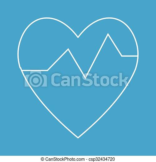 Heartbeat thin line icon - csp32434720