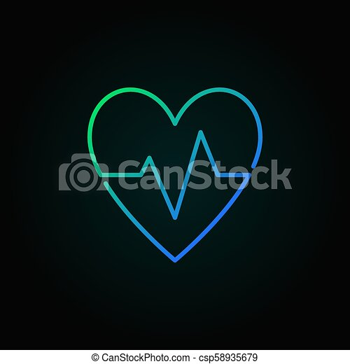 Heartbeat Vector Blue Icon Heart Rate Minimal Symbol Or Logo