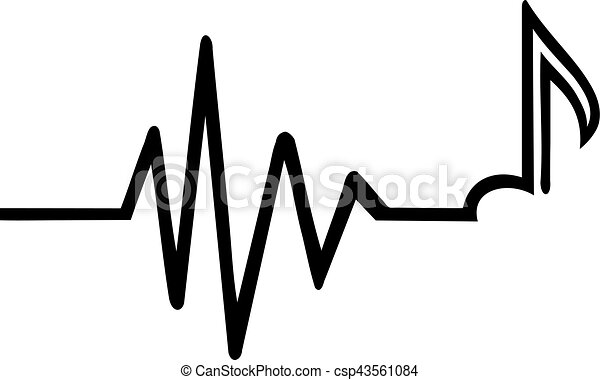 heartbeat with music note vector search clip art illustration rh canstockphoto com heartbeat clipart racing heartbeat clipart vector
