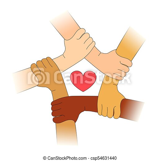 heart.eps, diferente, raças, mãos - csp54631440