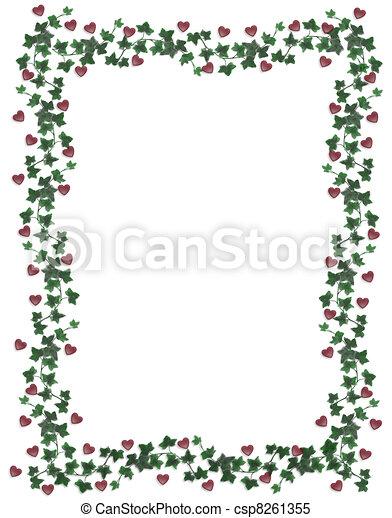 Hearts and ivy border Valentine - csp8261355