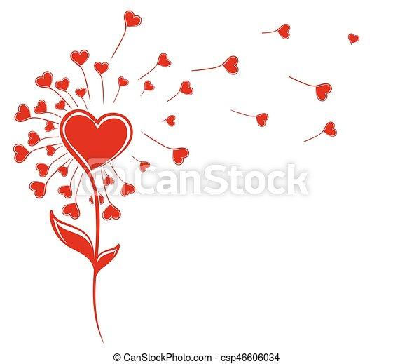 Dandelion con corazones. - csp46606034