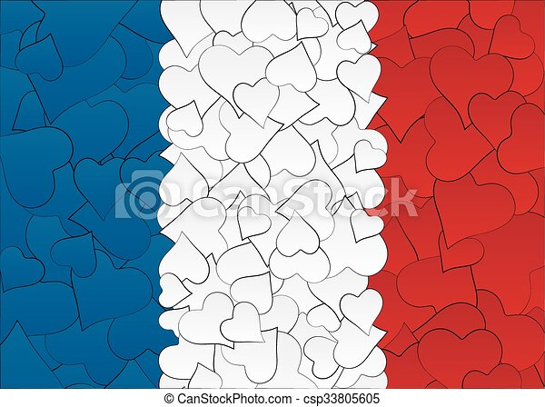 Hearts doodles hand drawn flag France, with love from France, a lot of hearts - csp33805605