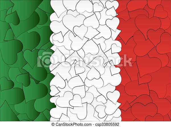 Hearts doodles hand drawn flag Italy, with love from italy, a lot of hearts - csp33805592