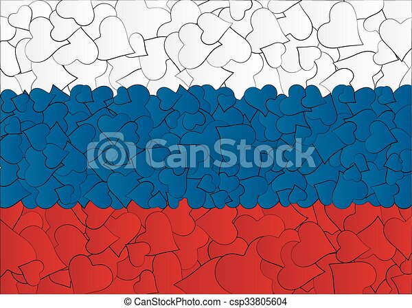 Hearts doodles hand drawn flag Russia, Moscow, with love from Russia, a lot of hearts - csp33805604