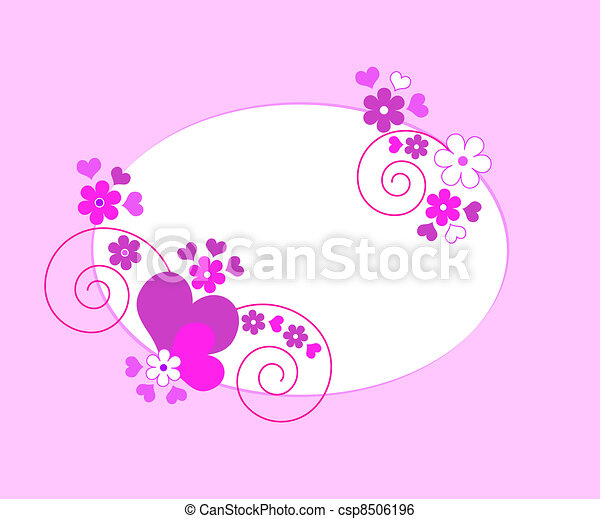Hearts flowers frame - csp8506196