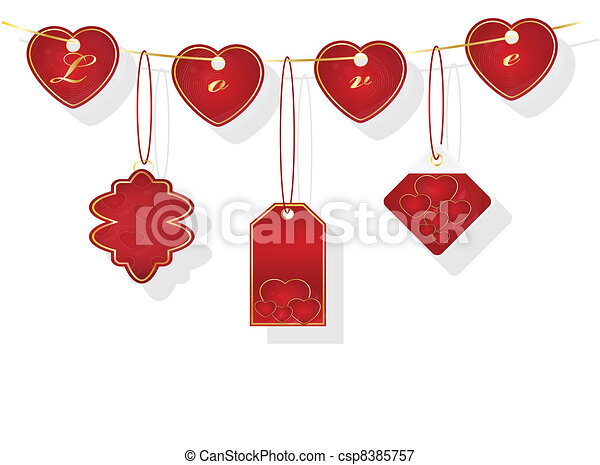 hearts lanels hearts strung on a rope