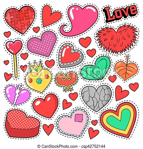 Hearts Love Badges Stickers Patches For Romatic Scrapbook Design