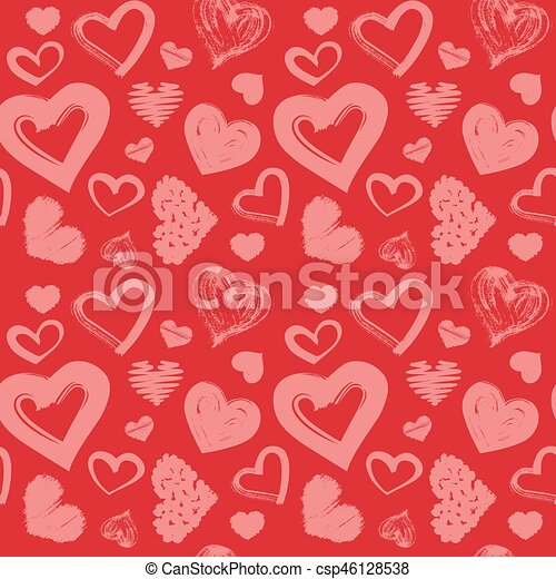 Hearts Love Theme Valentine S Day Seamless Pattern Background