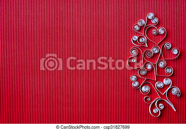 Hearts Of Paper Quilling For Valentine S Day Quilling Paper On Red