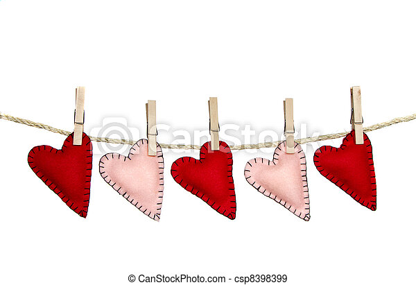 Clip Art Line Of Hearts : Red and pink stitched hearts on a clothes line isolated