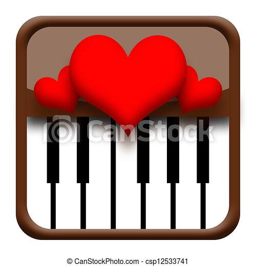 Hearts on piano - csp12533741
