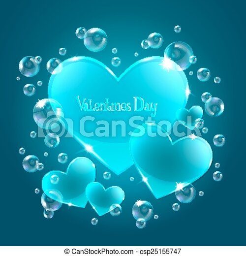 Hearts on the blue background - csp25155747