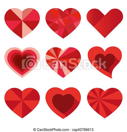 Hearts set for wedding and valentine design - csp43766613