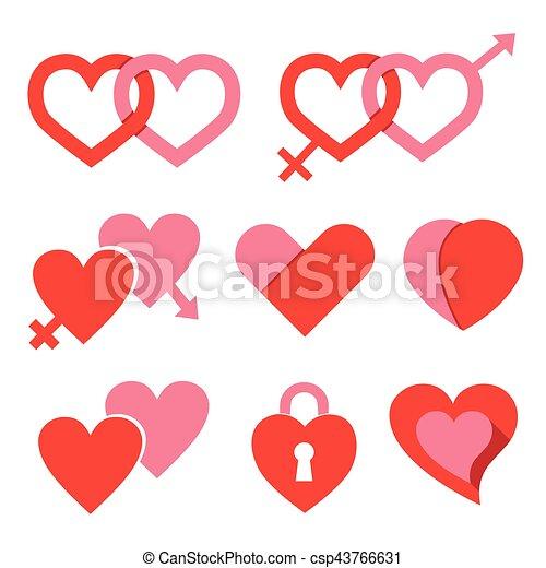 Hearts set for wedding and valentine design - csp43766631